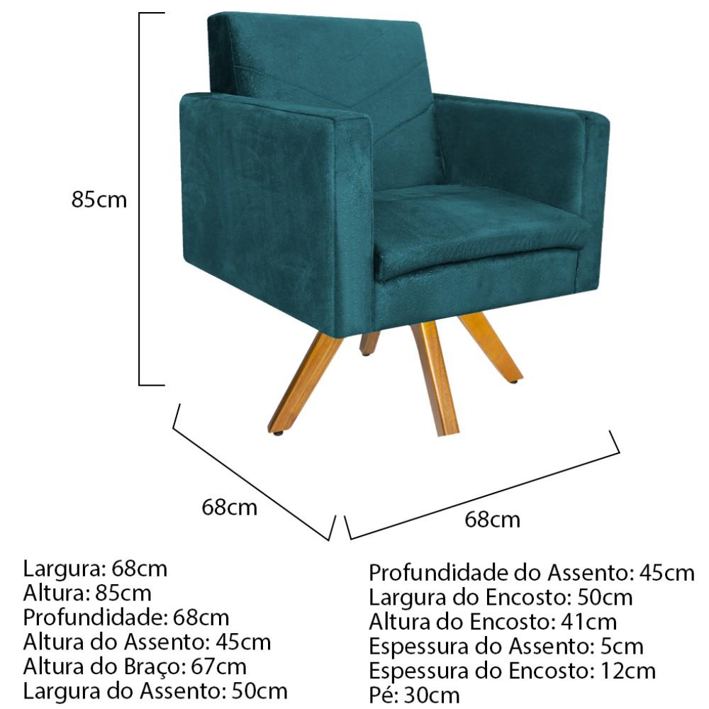 kit 03 Poltronas Bella Base Giratória de Madeira Suede Azul Turquesa - ADJ Decor