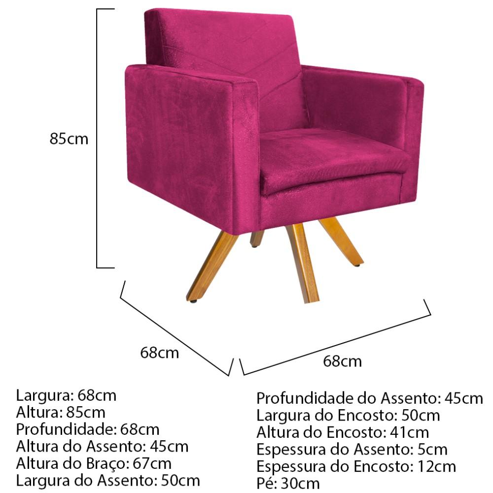 kit 03 Poltronas Bella Base Giratória de Madeira Suede Pink - ADJ Decor