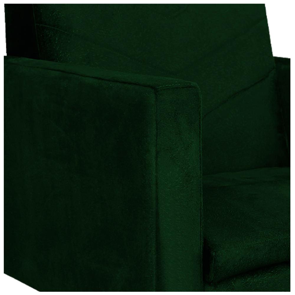 kit 03 Poltronas Bella Base Giratória de Madeira Suede Verde - ADJ Decor