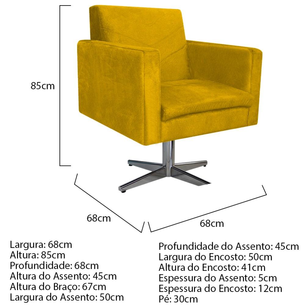 kit 03 Poltronas Bella Base Giratória de Metal Suede Amarelo - ADJ Decor