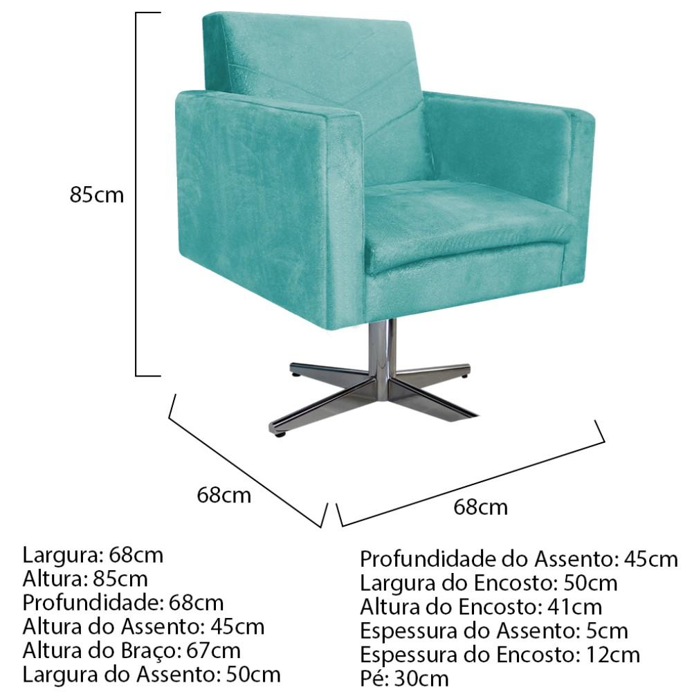 kit 03 Poltronas Bella Base Giratória de Metal Suede Azul Tiffany - ADJ Decor