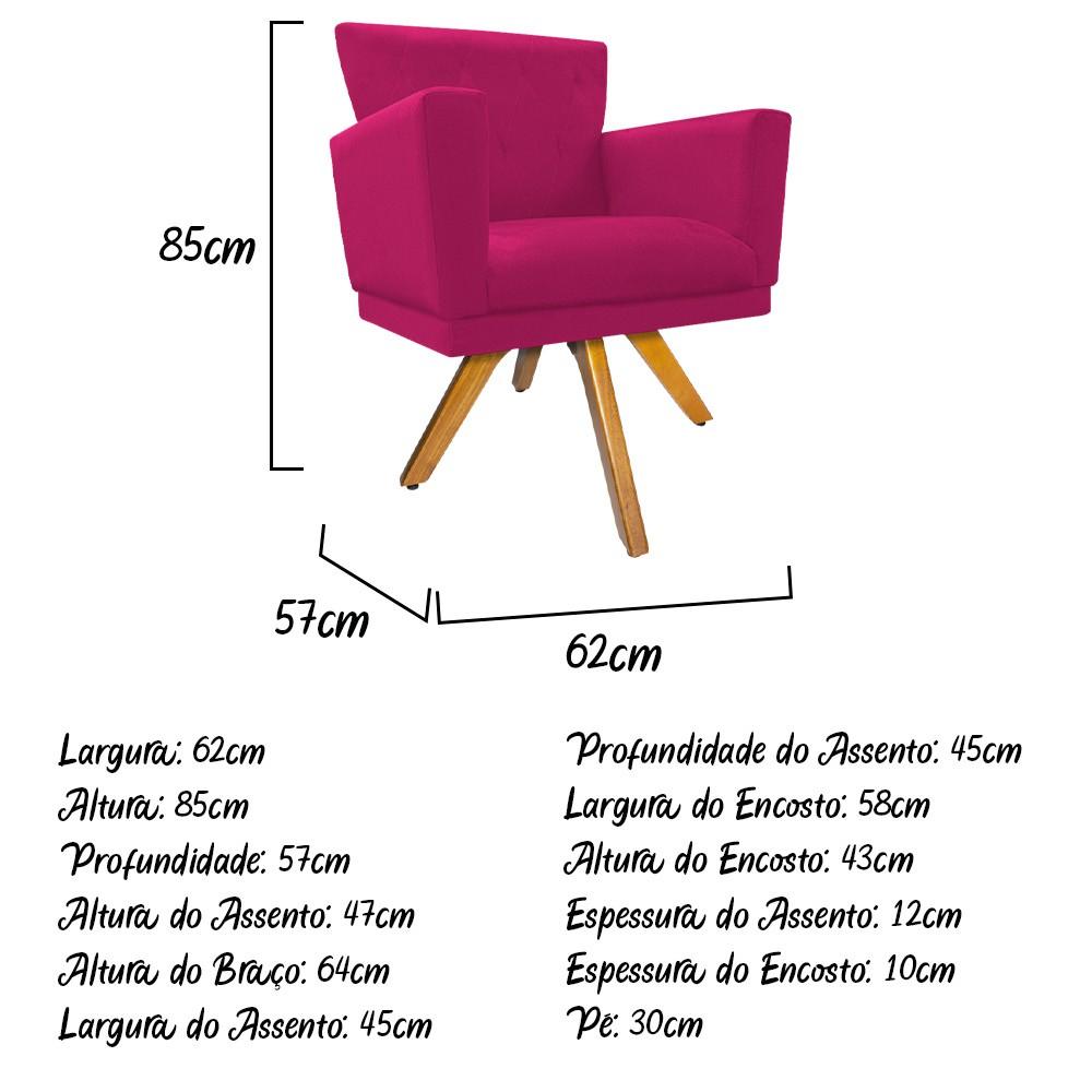 kit 03 Poltronas Dália Base Giratória de Madeira Suede Pink - ADJ Decor