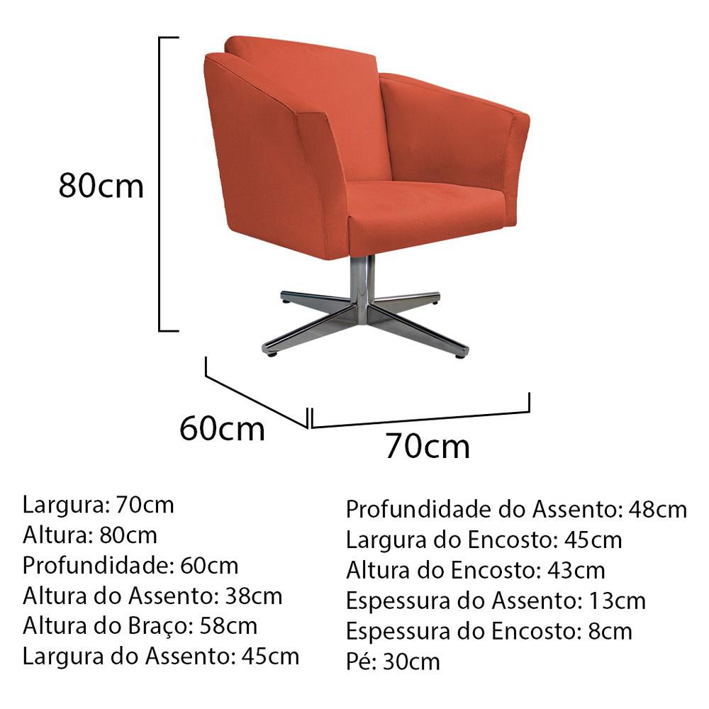 kit 03 Poltronas Diana Base Giratória de Metal Suede Terracota - ADJ Decor