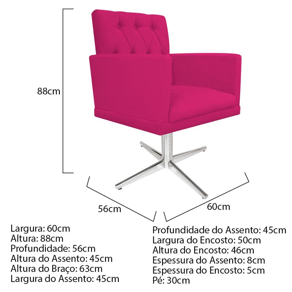 kit 03 Poltronas Fernanda Base Giratória de Metal Suede Pink - ADJ Decor