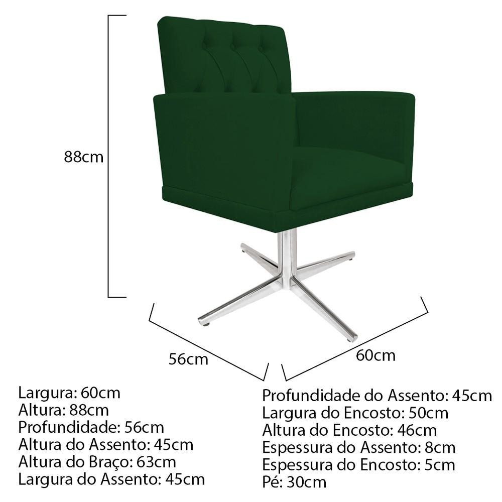 kit 03 Poltronas Fernanda Base Giratória de Metal Suede Verde - ADJ Decor