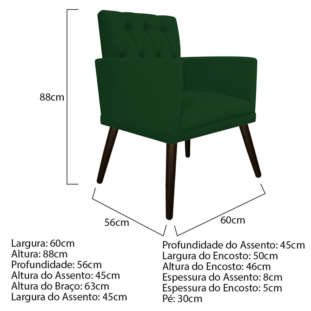 kit 03 Poltronas Fernanda Palito Tabaco Suede Verde - ADJ Decor