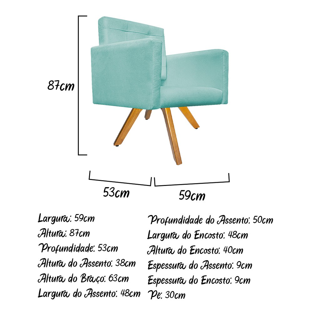 kit 03 Poltronas Gênesis Base Giratória de Madeira Suede Azul Tiffany - ADJ Decor