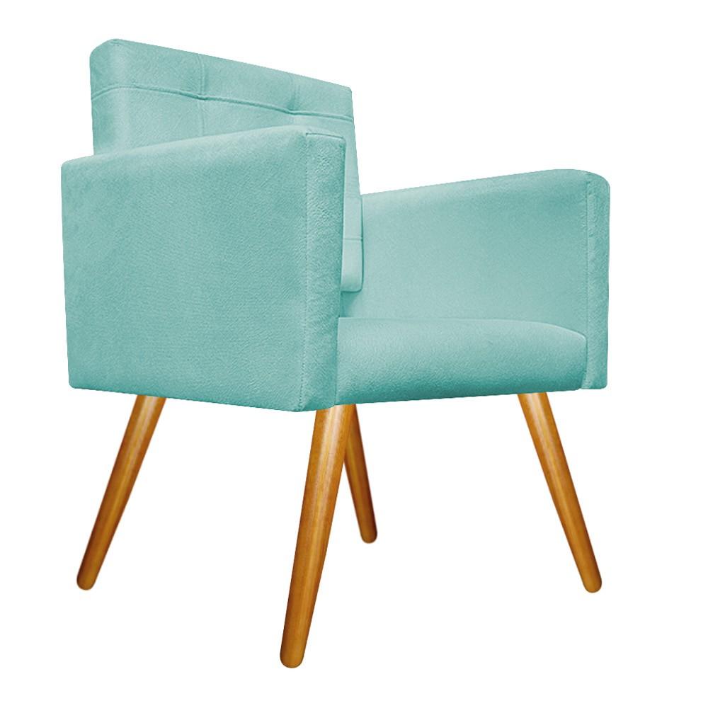 kit 03 Poltronas Gênesis Palito Mel Suede Azul Tiffany - ADJ Decor