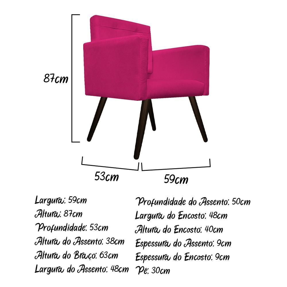 kit 03 Poltronas Gênesis Palito Tabaco Suede Pink - ADJ Decor