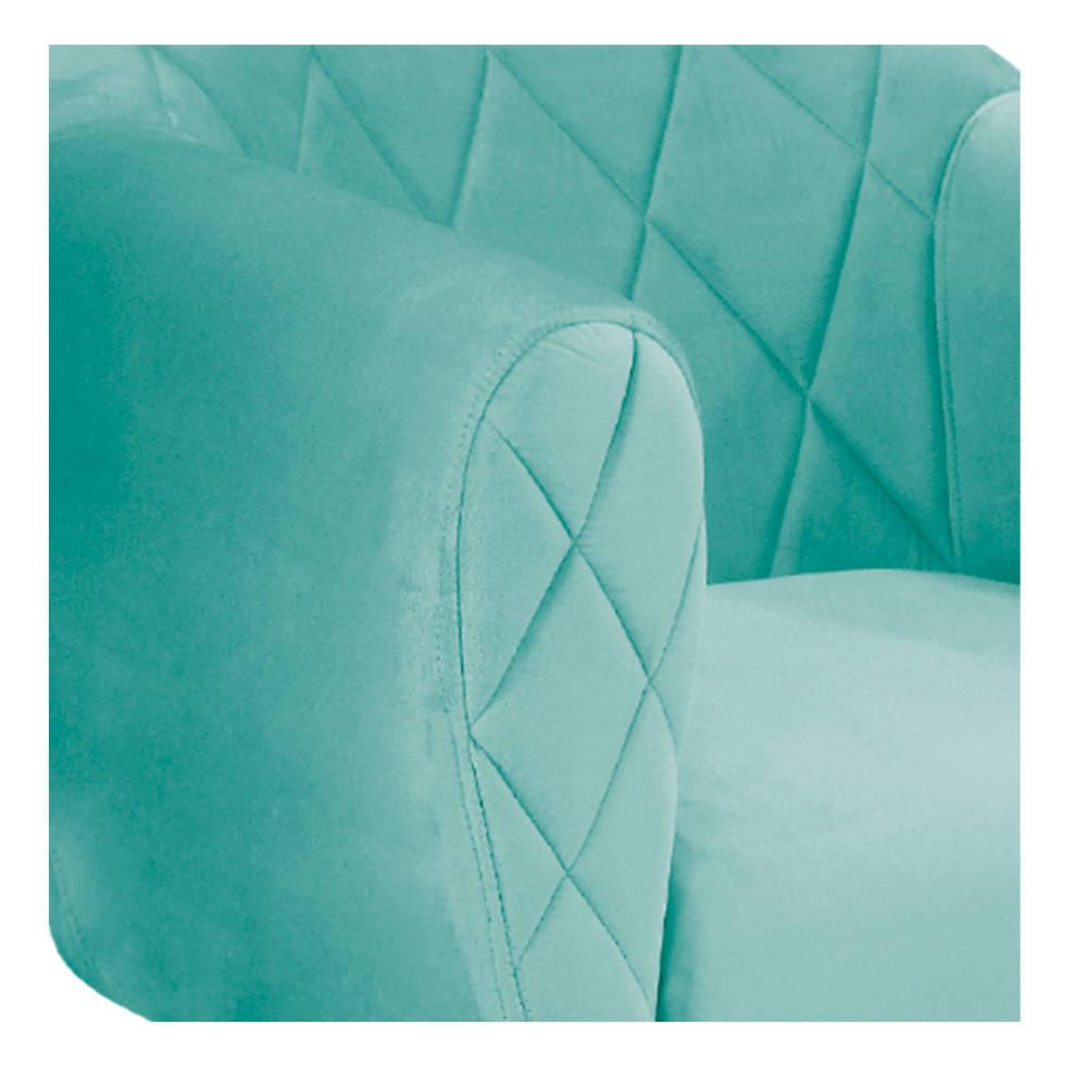 kit 03 Poltronas Helena Base Giratória de Madeira Suede Azul Tiffany - ADJ Decor