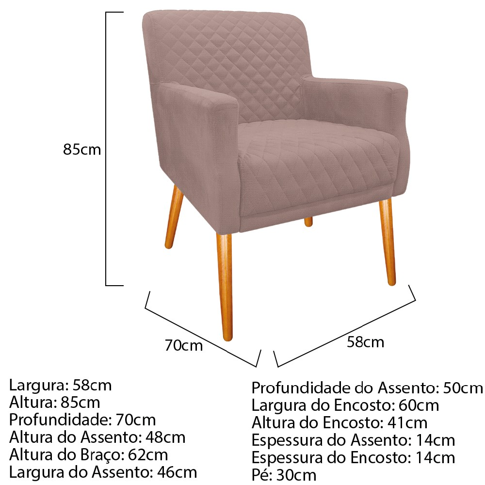kit 03 Poltronas Juliana Palito Mel Linho Rosê - ADJ Decor