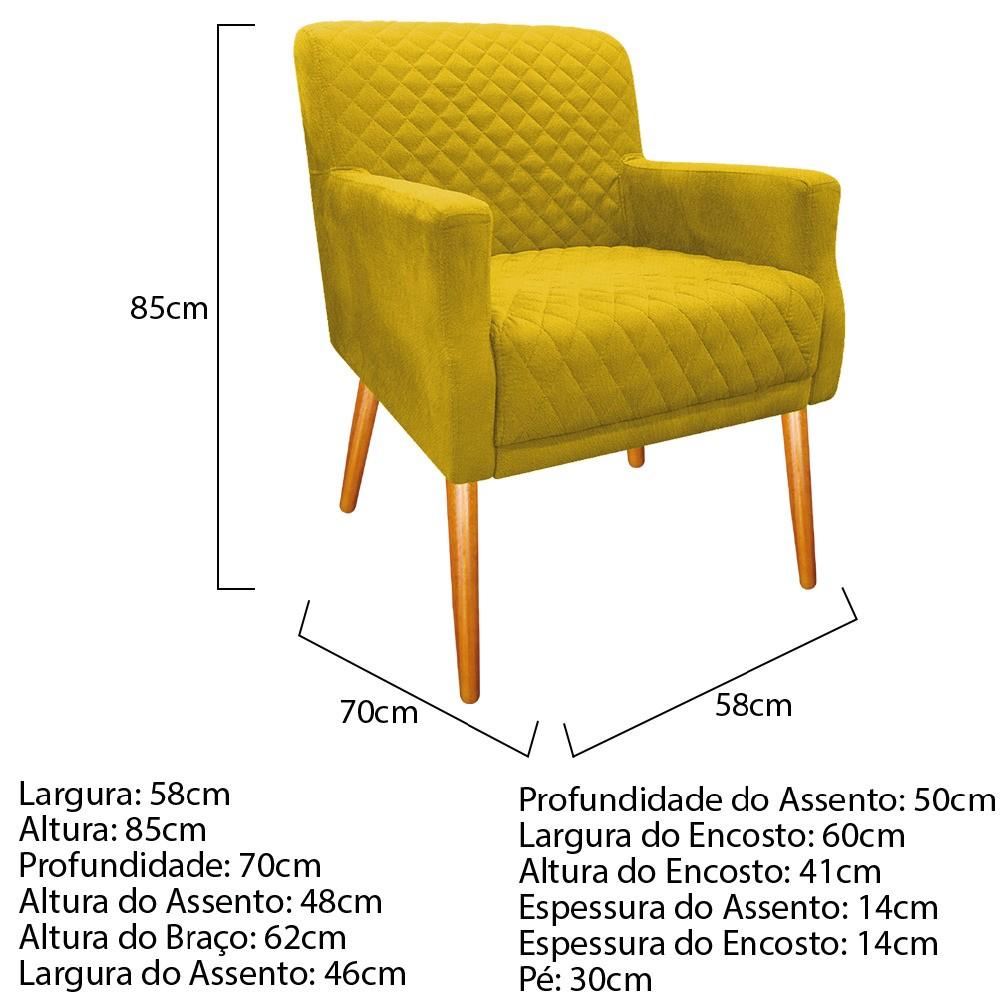 kit 03 Poltronas Juliana Palito Mel Suede Amarelo - ADJ Decor