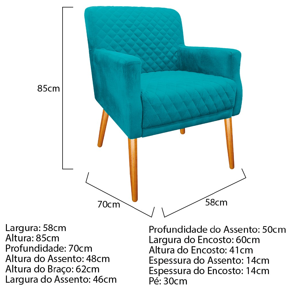 kit 03 Poltronas Juliana Palito Mel Suede Azul Turquesa - ADJ Decor