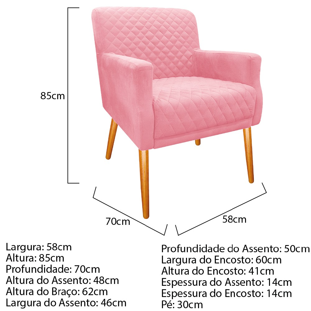 kit 03 Poltronas Juliana Palito Mel Suede Rosa Bebê - ADJ Decor