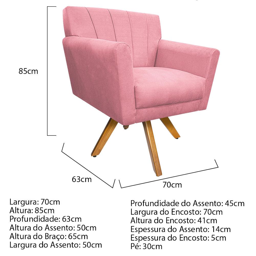 kit 03 Poltronas Laura Base Giratória de Madeira Suede Rosa Bebê - ADJ Decor
