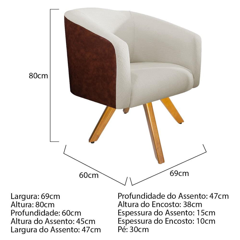 kit 03 Poltronas Luiza Base Giratória de Madeira Corano Nozes e Linho Bege - ADJ Decor