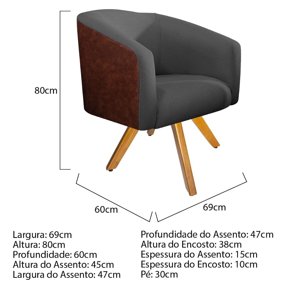 kit 03 Poltronas Luiza Base Giratória de Madeira Corano Nozes e Linho Chumbo - ADJ Decor