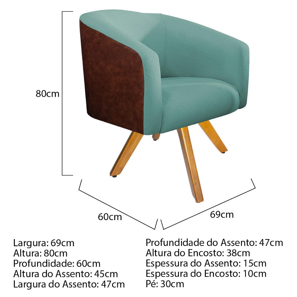 Kit 03 Poltronas Luiza Base Giratória de Madeira Couro Ecológico Nozes e Linho Azul Turquesa - ADJ Decor
