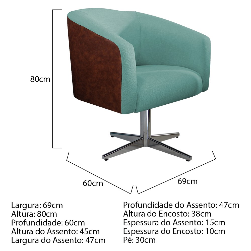 kit 03 Poltronas Luiza Base Giratória de Metal Corano Nozes e Linho Azul Turquesa - ADJ Decor
