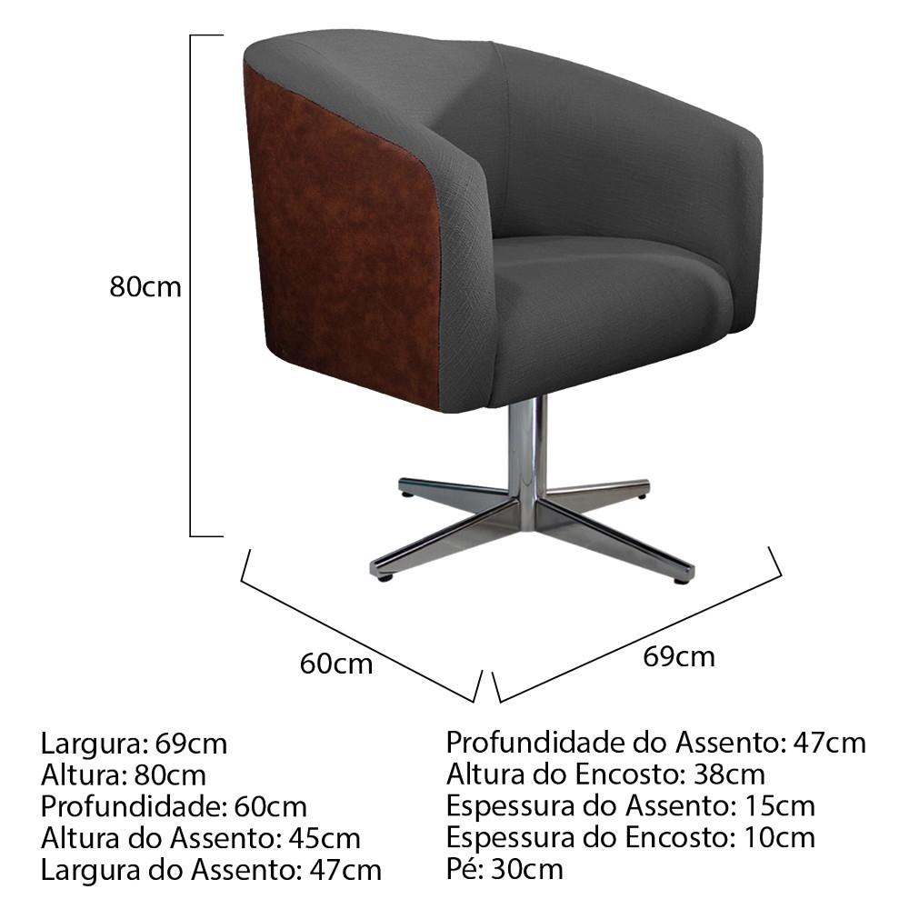 kit 03 Poltronas Luiza Base Giratória de Metal Corano Nozes e Linho Chumbo - ADJ Decor