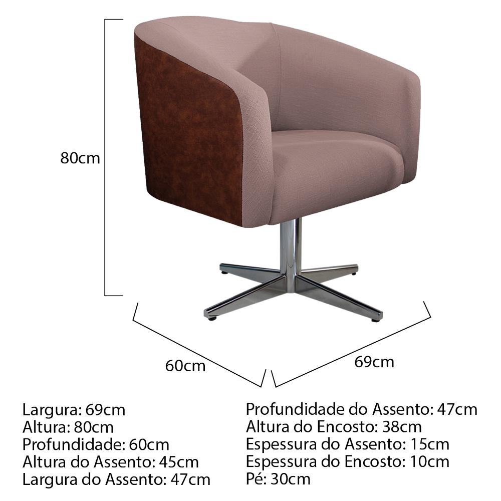 kit 03 Poltronas Luiza Base Giratória de Metal Couro Ecológico Nozes e Linho Rosê - ADJ Decor