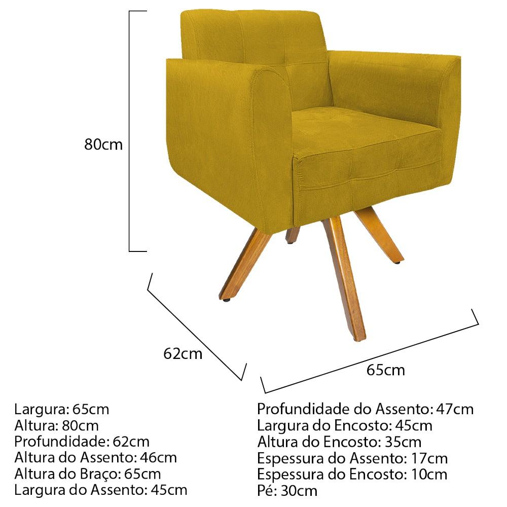 kit 03 Poltronas Stella Base Giratória de Madeira Suede Amarelo - ADJ Decor