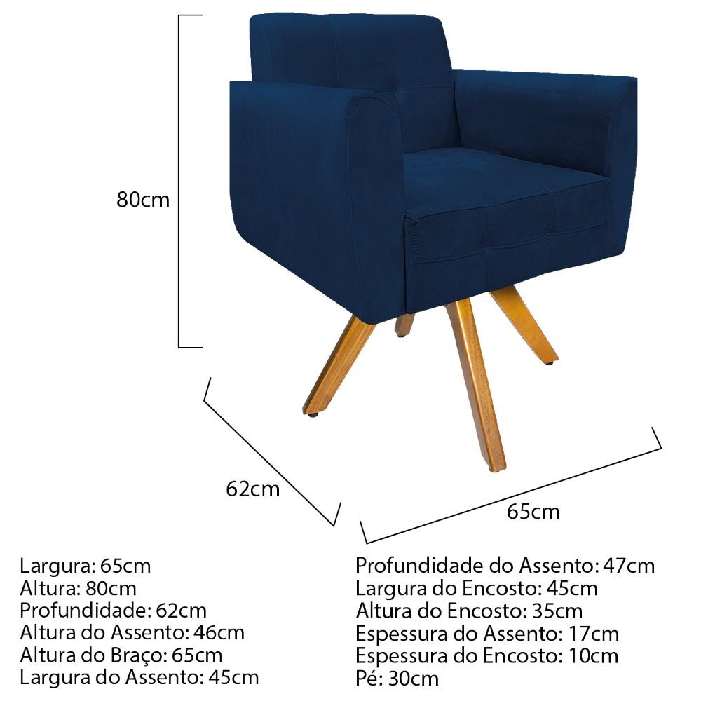 kit 03 Poltronas Stella Base Giratória de Madeira Suede Azul Marinho - ADJ Decor