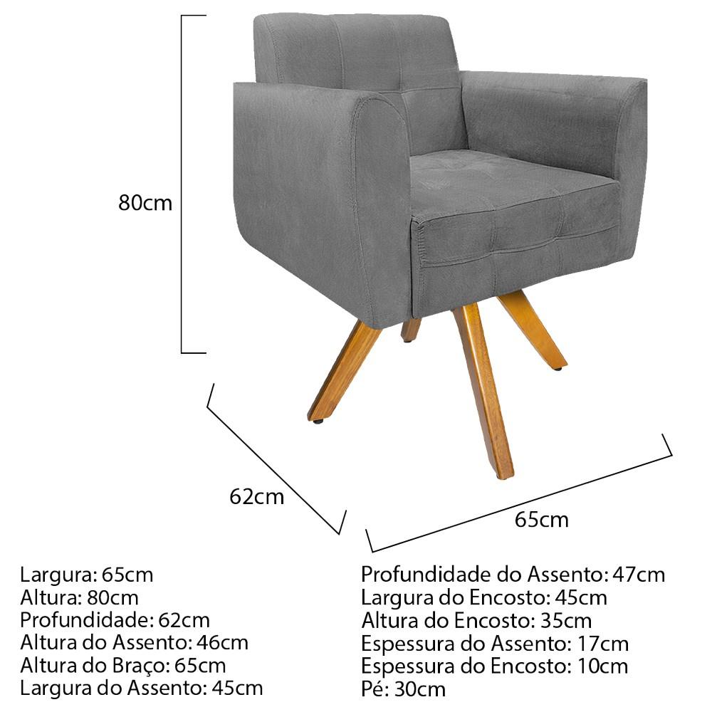 kit 03 Poltronas Stella Base Giratória de Madeira Suede Cinza - ADJ Decor
