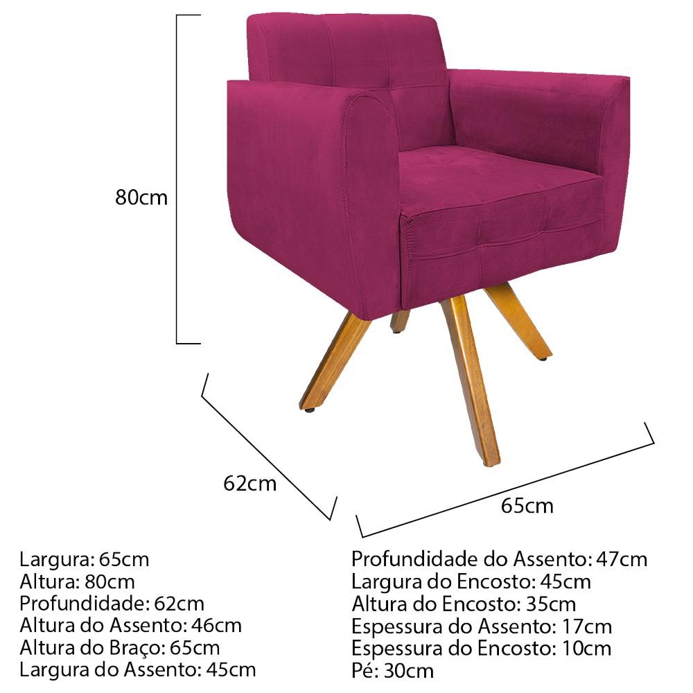 kit 03 Poltronas Stella Base Giratória de Madeira Suede Pink - ADJ Decor