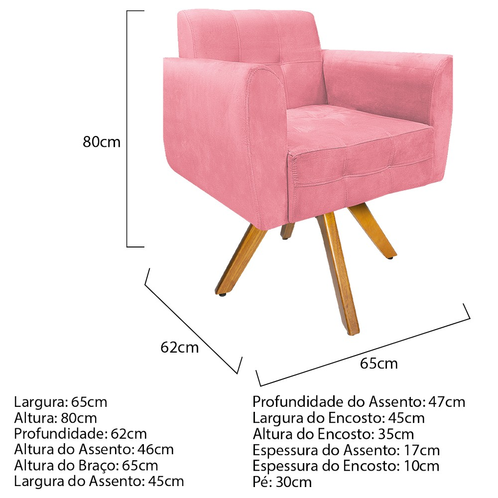 kit 03 Poltronas Stella Base Giratória de Madeira Suede Rosa Bebê - ADJ Decor