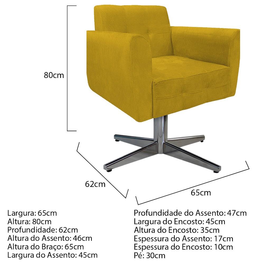 kit 03 Poltronas Stella Base Giratória de Metal Suede Amarelo - ADJ Decor