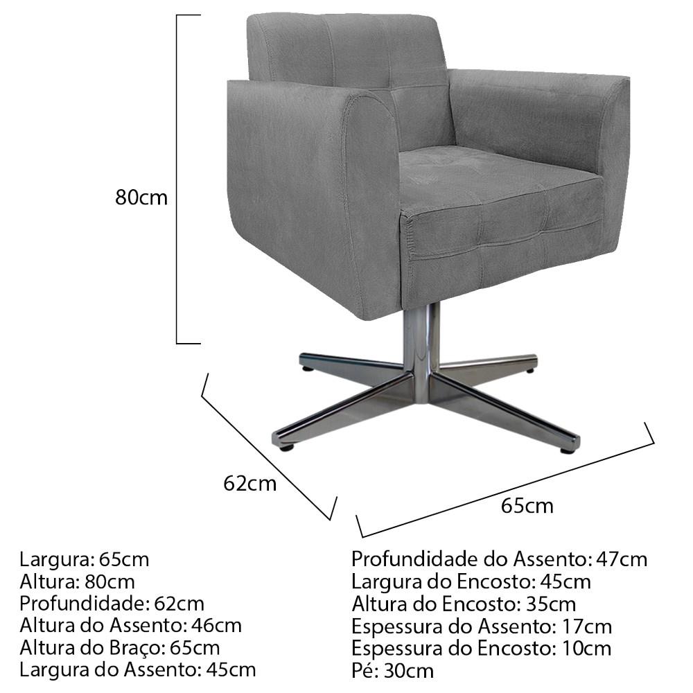 kit 03 Poltronas Stella Base Giratória de Metal Suede Cinza - ADJ Decor