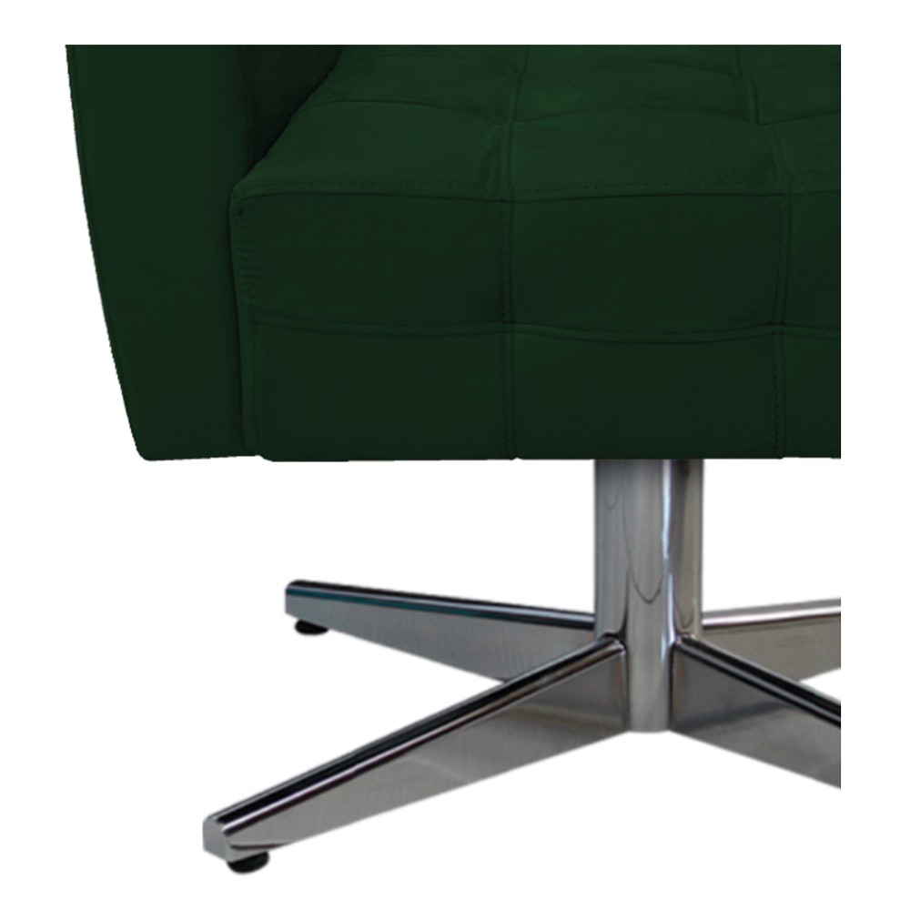 kit 03 Poltronas Stella Base Giratória de Metal Suede Verde - ADJ Decor