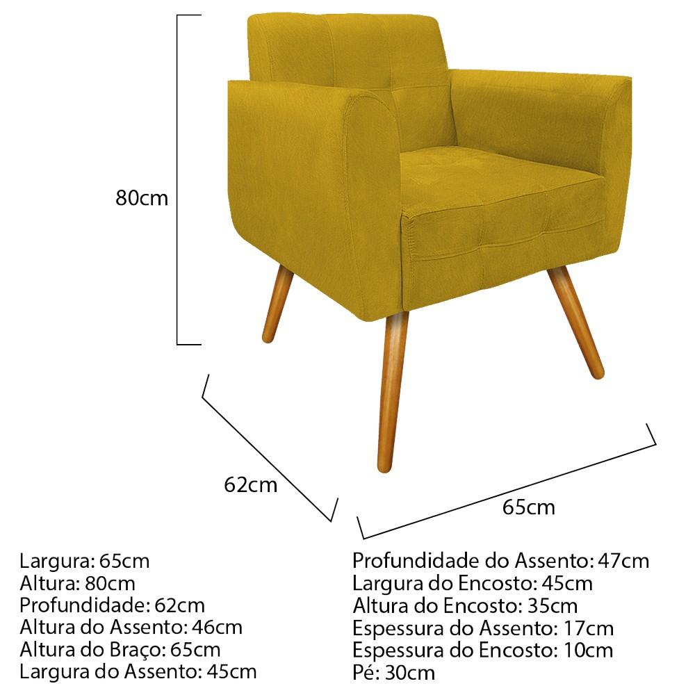 kit 03 Poltronas Stella Palito Mel Suede Amarelo - ADJ Decor