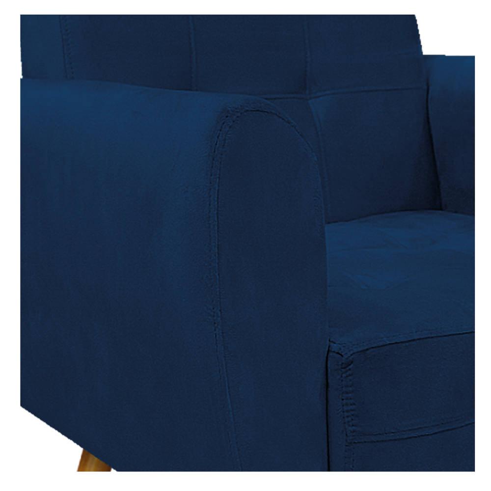 kit 03 Poltronas Stella Palito Mel Suede Azul Marinho - ADJ Decor