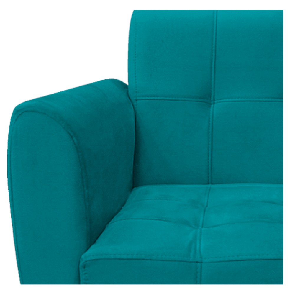 kit 03 Poltronas Stella Palito Mel Suede Azul Turquesa - ADJ Decor