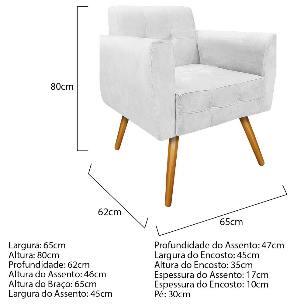 kit 03 Poltronas Stella Palito Mel Suede Branco - ADJ Decor
