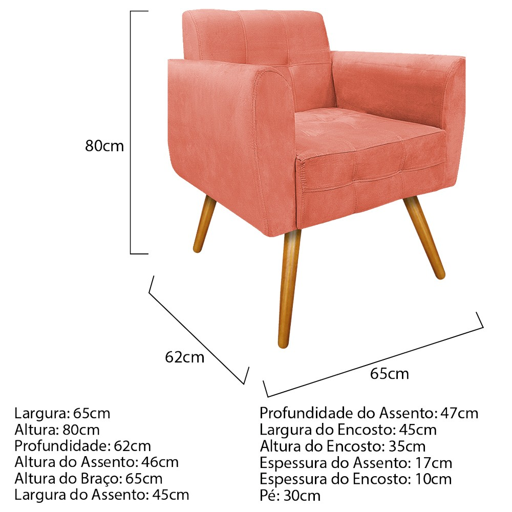 kit 03 Poltronas Stella Palito Mel Suede Coral - ADJ Decor