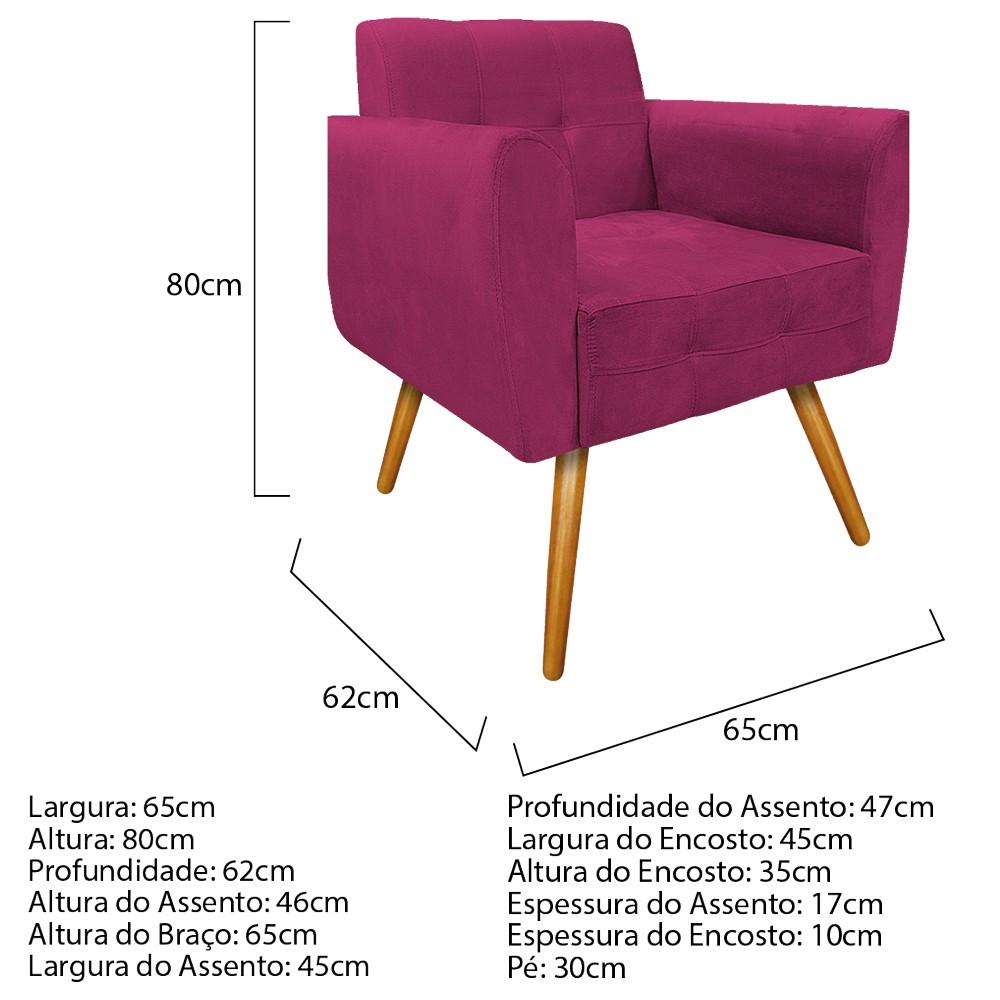 kit 03 Poltronas Stella Palito Mel Suede Pink - ADJ Decor