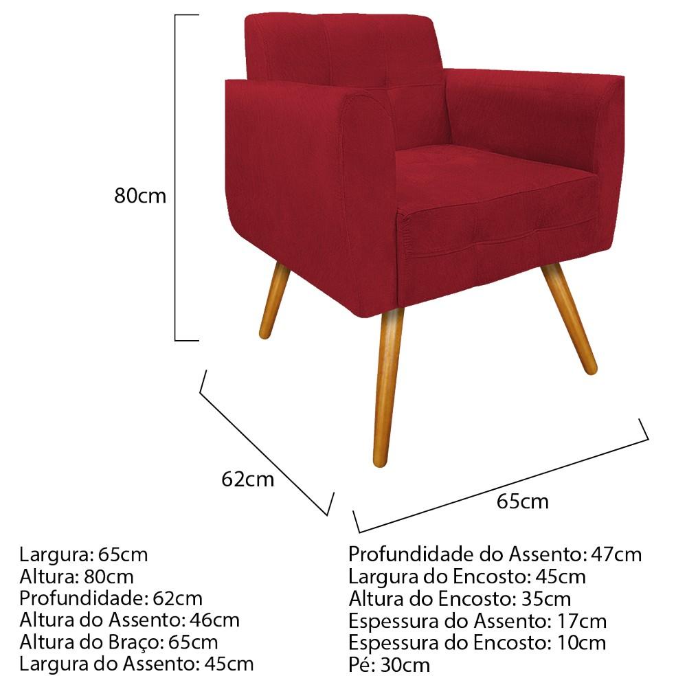 kit 03 Poltronas Stella Palito Mel Suede Vermelho - ADJ Decor