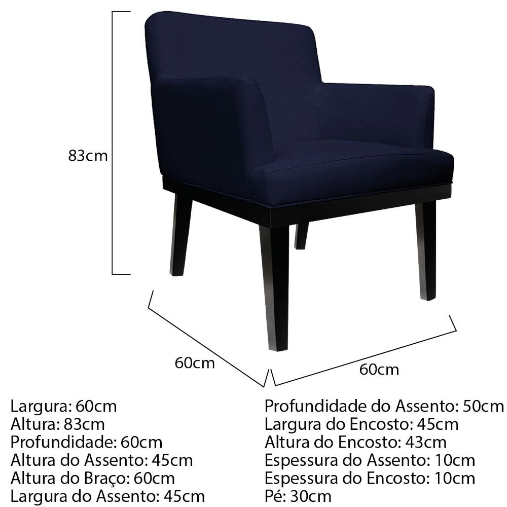 kit 03 Poltronas Vitória Corano Azul Marinho - ADJ Decor