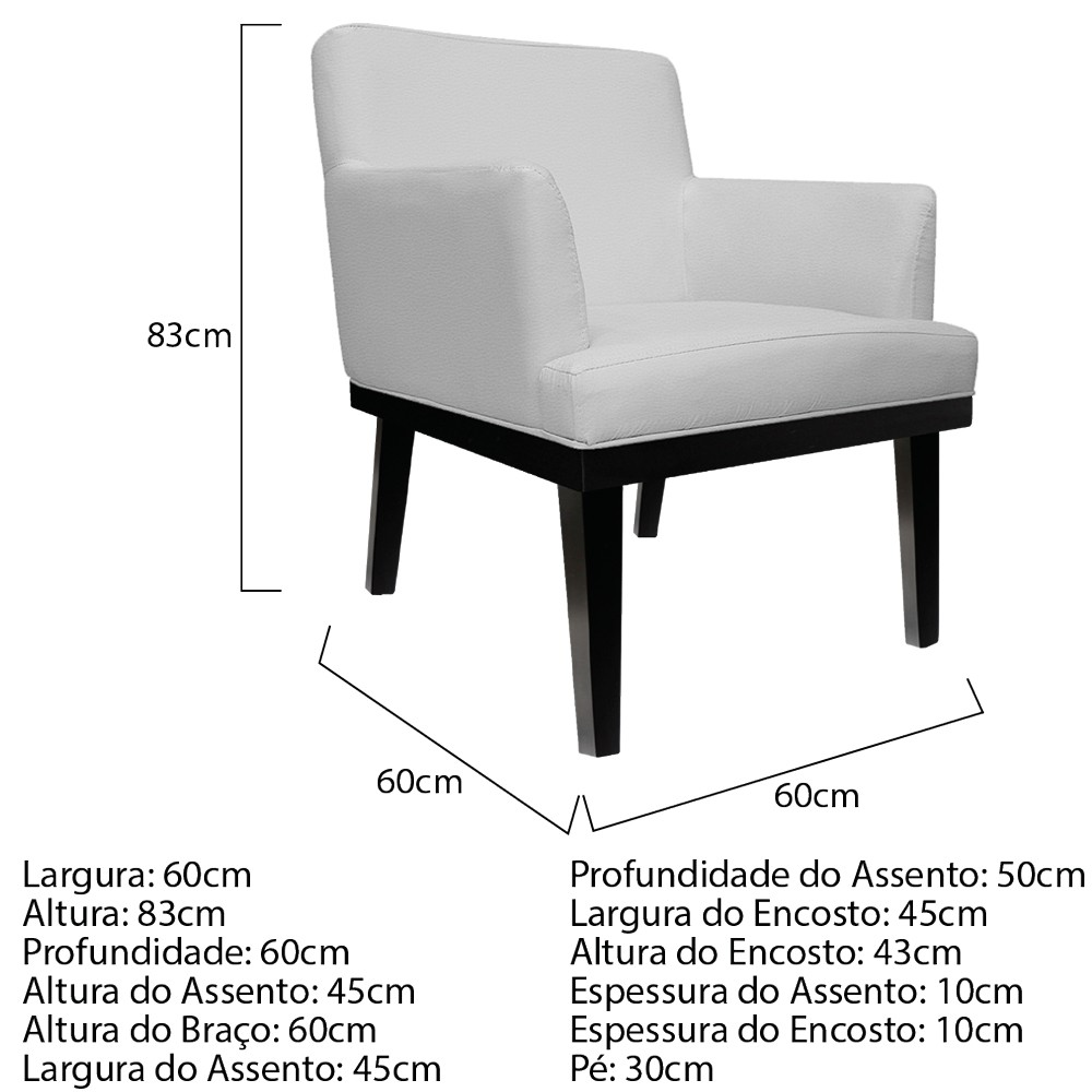 kit 03 Poltronas Vitória Corano Branco - ADJ Decor