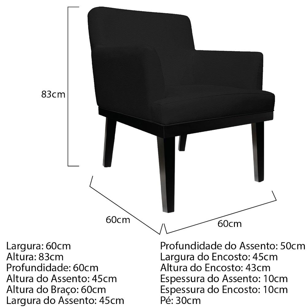 kit 03 Poltronas Vitória Corano Preto - ADJ Decor