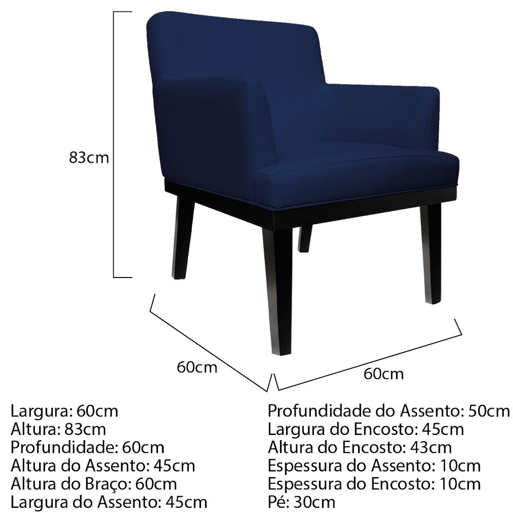 kit 03 Poltronas Vitória Suede Azul Marinho - ADJ Decor