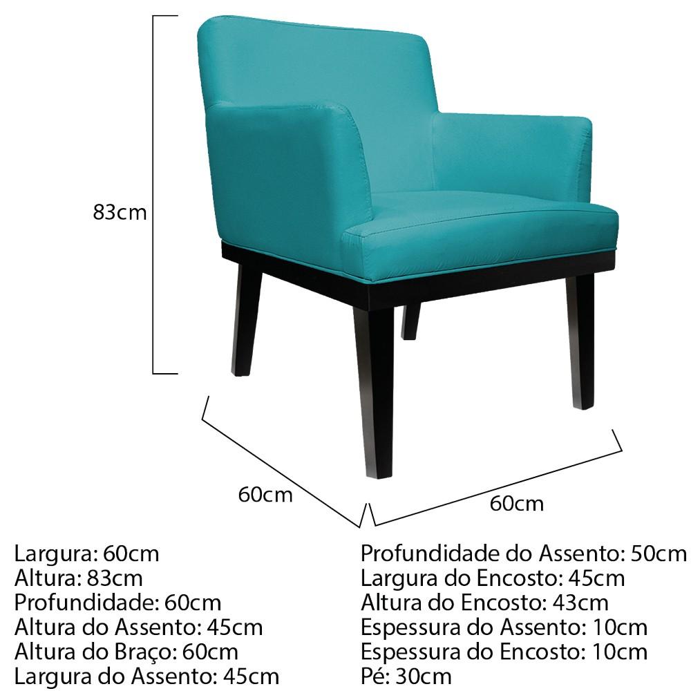 kit 03 Poltronas Vitória Suede Azul Turquesa - ADJ Decor
