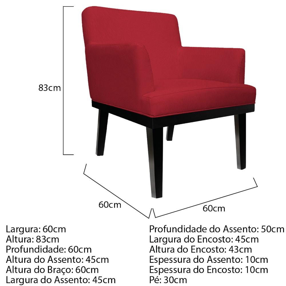 kit 03 Poltronas Vitória Suede Vermelho - ADJ Decor