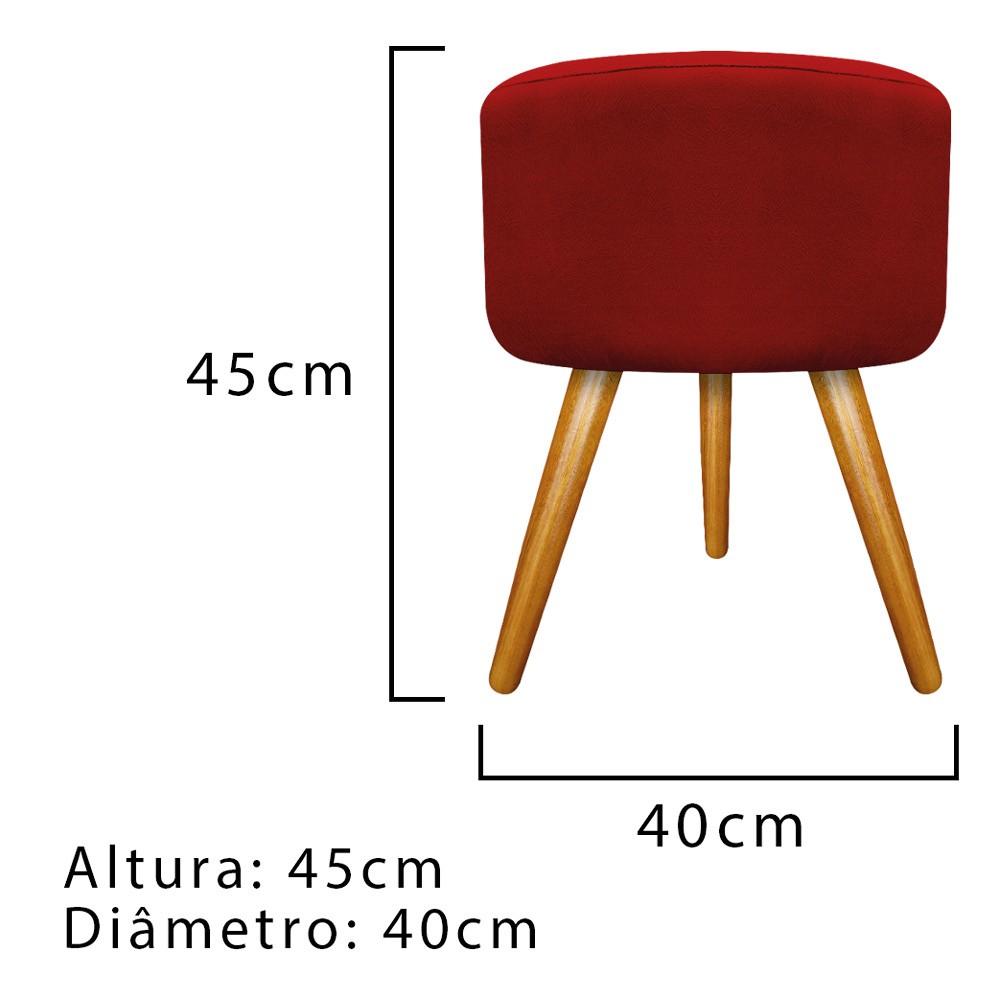 Kit 03 Puffs Carol Palito Mel Suede Vermelho - ADJ Decor