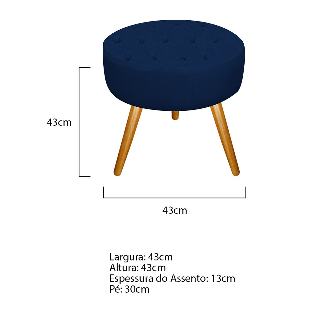 Kit 03 Puffs Fernanda Palito Mel Suede Azul Marinho - ADJ Decor
