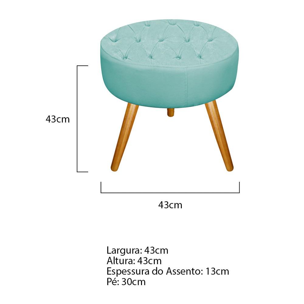 Kit 03 Puffs Fernanda Palito Mel Suede Azul Tiffany - ADJ Decor