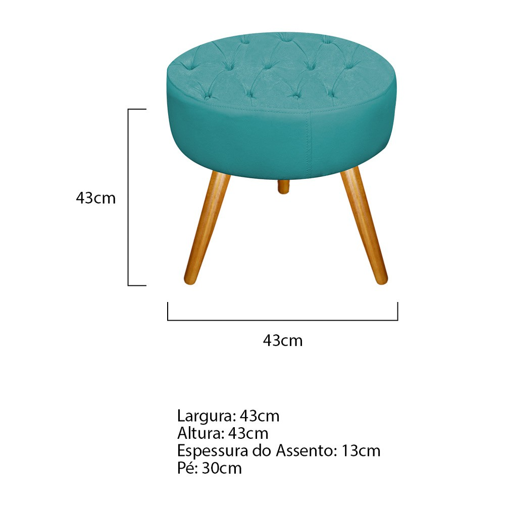 Kit 03 Puffs Fernanda Palito Mel Suede Azul Turquesa - ADJ Decor